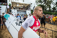 Pipeline, North Shore of Oahu, Hawaii Friday December 19 2014) Defending World Champion Mick Fanning (AUS).- The final stop of the 2014  World Championship Tour, the Billabong Pipe Masters in Memory of Andy Irons, was  ccompleted today in NW double overhead surf. <br /> Gabriel Medina (BRA) became the first ever Brazilian World Champion after both rival contenders , Kelly Slater (USA) and Mick Fanning (AUS) were eliminated from the contest. Medina went onto finish 2nd overall behind Julian Wilson (AUS). <br /> In the overlapping heat format Wilson surf three consequent heats and still had enough entry to take out the 30 minute final.<br /> By winning the final Wilson also won the covered Vans Triple Crown of Surfing for best overall performance through the whole Triple Crown.<br /> <br /> The Billabong Pipe Masters in Memory of Andy Irons will determine this year&rsquo;s world surfing champion as well as those who qualify for the elite tour in 2015. As the third and final stop on the Vans Triple Crown of Surfing Series  the event will also determine the winner of the revered three-event leg.<br /> <br />  Photo: joliphotos.com