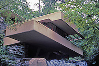F.L. Wright: Fallingwater. Seen from below.  Photo '76.