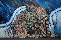 Section of the Berlin Wall depicting a painting entitled You Can See Infinity by Laszlo Erkel (Kentaur), part of the East Side Gallery, a 1.3km long section of the Wall on Muhlenstrasse painted in 1990 on its Eastern side by 105 artists from around the world, Berlin, Germany. Picture by Manuel Cohen