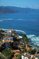 Coastal homes with red time roofs, Puerto Vallarta, Mexico