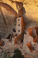 Aerial view of Square Tower House, 13th century, a Native American Puebloan dwelling on the East side of Navajo Canyon, in Mesa Verde National Park, Montezuma County, Colorado, USA. This is the tallest structure in the park with the tower standing at 28 feet, and is made from sandstone blocks, mortar and wooden beams. Mesa Verde is the largest archaeological site in America, with Native Americans inhabiting the area from 7500 BC to 13th century AD. It is listed as a UNESCO World Heritage Site. Picture by Manuel Cohen