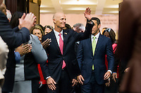 TALLAHASSEE, FLA. 1/12/16- Gov. Rick Scott waves as he enters the House chamber to deliver the state of the state address Tuesday at the Capitol in Tallahassee.<br /> <br /> COLIN HACKLEY PHOTO