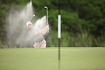 HOWEY IN THE HILLS, FL - MAY 19: Josh Hill of Guilford College blasts out of a green side bunker during the Division III Men's Golf Championship held at the Mission Inn Resort and Club on May 19, 2017 in Howey In The Hills, Florida. (Photo by Cy Cyr/NCAA Photos via Getty Images)
