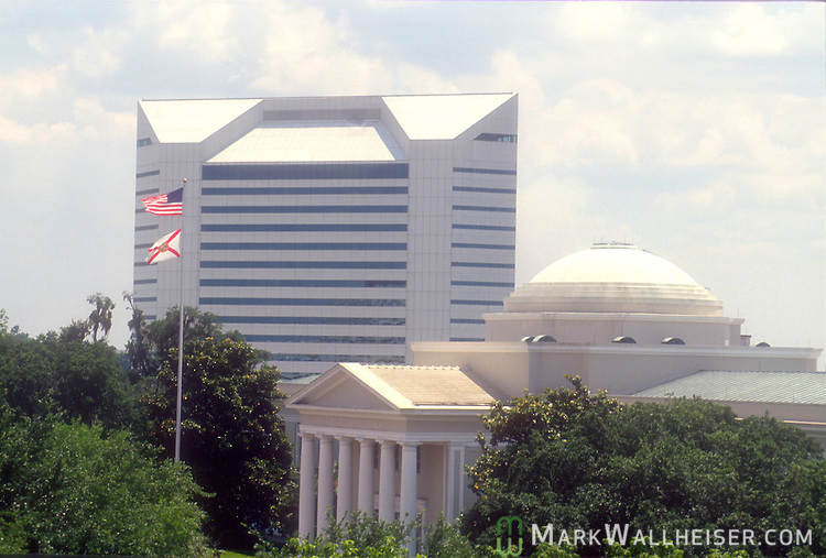 The Florida Supreme Court and Florida Department of Education buildings in this skyline photo of downtown Tallahassee, Florida.