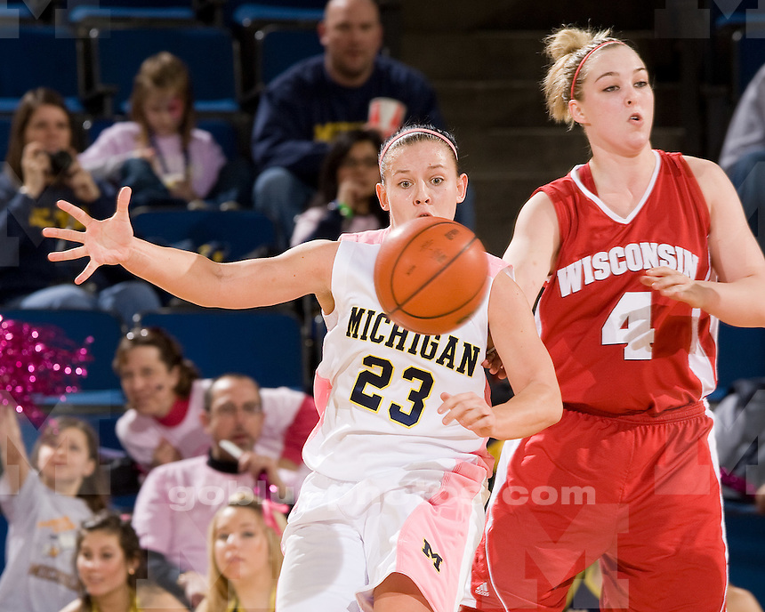 University of Michigan basketball (women) vs Wisconsin at Crisler Arena on 2/21/10.