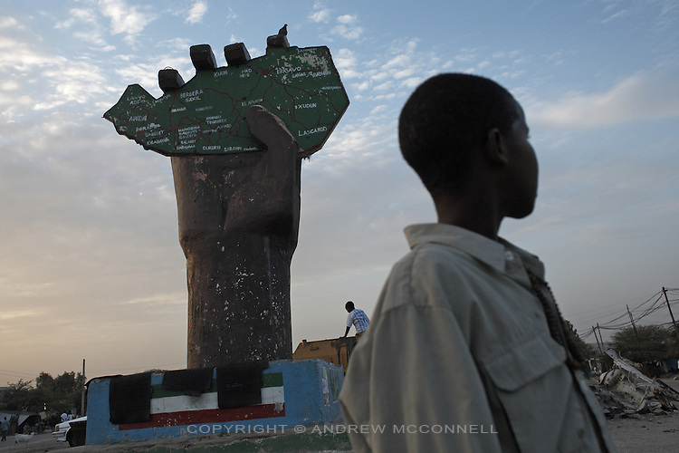 A giant hand holds up a map of Somaliland, in the capital Hargeisa.