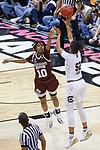 DALLAS, TX - APRIL 2: Jazzmun Holmes #10 of the Mississippi State Lady Bulldogs attempts to block Tyasha Harris #52 of the South Carolina Gamecocks during the 2017 Women's Final Four at American Airlines Center on April 2, 2017 in Dallas, Texas. (Photo by Timothy Nwachukwu/NCAA Photos via Getty Images)