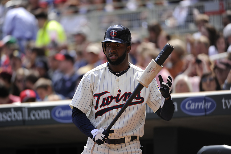 MINNEAPOLIS - APRIL 24:  Denard Span #2 of the Minnesota Twins looks on against the Cleveland Indians on April 24, 2011 at Target Field in Minneapolis, Minnesota.  The Twins defeated the Indians 4-3.  (Photo by Ron Vesely)  Subject:  Denard Span