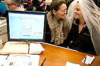 Amy and Jeri Andrews of Seattle, obtain their marriage license around 1am on December 6th, 2012 at the King County Courthouse. Amy Andrews, &quot;It's the civil rights moment of our time.&quot;