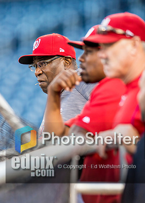 13 October 2016: Washington Nationals Manager Dusty Baker watches batting practice prior to Game 5 of the NLDS against the Los Angeles Dodgers at Nationals Park in Washington, DC. The Dodgers edged out the Nationals 4-3, to take Game 5 of the Series, 3 games to 2, and move on to the National League Championship Series against the Chicago Cubs. Mandatory Credit: Ed Wolfstein Photo *** RAW (NEF) Image File Available ***