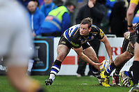 Chris Cook of Bath Rugby looks to get the ball away. Aviva Premiership match, between Bath Rugby and Wasps on February 20, 2016 at the Recreation Ground in Bath, England. Photo by: Patrick Khachfe / Onside Images