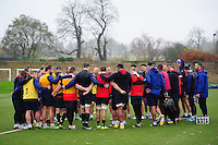 The Bath Rugby squad huddle together. Bath Rugby training session on November 22, 2016 at Farleigh House in Bath, England. Photo by: Patrick Khachfe / Onside Images