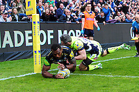 Semesa Rokoduguni of Bath Rugby scores a try in the second half. Aviva Premiership match, between Bath Rugby and Sale Sharks on April 23, 2016 at the Recreation Ground in Bath, England. Photo by: Patrick Khachfe / Onside Images