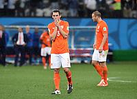 FUSSBALL WM 2014                HALBFINALE Niederlande - Argentinien       09.07.2014 Stefan de Vrij (li) und Ron Vlaar (re, beide Niederlande) sind enttaeuscht