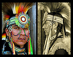 Diptych of  Keith Sharphead, Plains Cree, Thunderbird Pow-Wow in Queens County Farm, New York. <br /> <br /> His regalia is an example of ethnic pride, heritage and a celebration and traditional Native American folk art crafts.<br /> <br /> Plains Cree - GOR-81860-11<br /> Plains Cree - GOR-81858-bW-11