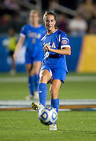 Sarah Killion (16) of UCLA passes the ball during the Women's College Cup semifinals at WakeMed Soccer Park in Cary, NC. UCLA advance on penalty kicks after typing Virginia, 1-1 in regulation time.