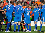 Dundee Utd v St Johnstone...25.09.10  .Prince Buaben gets hands on Jody Morris.Picture by Graeme Hart..Copyright Perthshire Picture Agency.Tel: 01738 623350  Mobile: 07990 594431