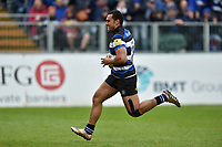 Robbie Fruean of Bath Rugby goes on the attack. Aviva Premiership match, between Bath Rugby and Gloucester Rugby on April 30, 2017 at the Recreation Ground in Bath, England. Photo by: Patrick Khachfe / Onside Images