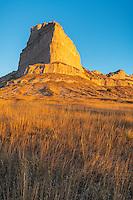 Scotts Bluff National Monument, Nebraska:<br /> Scotts Bluff rises above prairie grasses in morning light