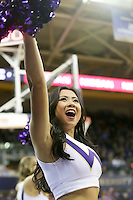 Dec 28, 2015:  Washington cheer member Jade Carson entertained fans during a TV timeout.   Washington defeated UC Santa Barbara 83-78 at Alaska Airlines Arena in Seattle, WA.