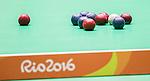 RIO DE JANEIRO - 10/9/2016:  The Canadian team of Iulian Ciobanu, Marco Dispaltro and Alison Levine takes on Thailand in mixed pairs BC4 boccia preliminaries at Carioca 2 arena during the Rio 2016 Paralympic Games. (Photo by Dave Holland/Canadian Paralympic Committee)