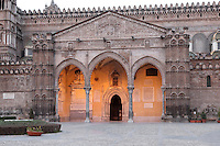 16th century portico by Domenico and Antonello Gagini, Duomo (Cathedral) of Palermo, Sicily, Italy. 12th century cathedral encompassing a wide variety of architectural styles from Romanesque to Byzantine. Picture by Manuel Cohen