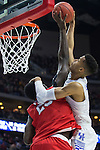 Forward Skal Labissiere of the Kentucky Wildcats is blocked during the NCAA Tournament first round game against the Stony Brook Seawolves at Wells Fargo Arena on Thursday, March 17, 2016 in Des Moines, Iowa. Photo by Michael Reaves | Staff.