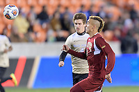 Houston, TX Friday, December 9, 2016: Andre Shinyashiki (9) of the Denver Pioneers keeps his eye on the ball against the Wake Forest Demon Deacons at the NCAA Men's Soccer Semifinals at BBVA Compass Stadium in Houston Texas.
