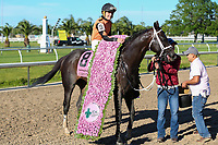 NEW ORLEANS, LA - APRIL 01: Girvin #8 ridden by Brian Joseph Hernandez Jr. wins the 104th Louisiana Derby at Fairgrounds Race Course on April 1,2017 in New Orleans, Louisiana. (Photo by Steve Dalmado/Eclipse Sportswire/Getty Images)