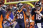 SHOT 10/19/14 7:18:01 PM - Denver Broncos wide receiver Demaryius Thomas #88 celebrates after catching a touchdown against the San Francisco 49ers at Sports Authority Field at Mile High Sunday October 19, 2014 in Denver, Co. The Broncos beat the 49ers 42-17.<br /> (Photo by Marc Piscotty / &copy; 2014)