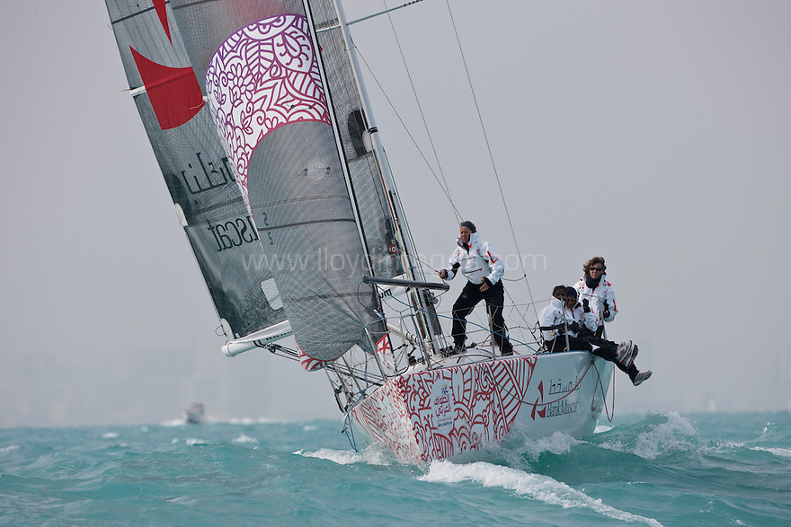 Pictures of the teams crossing the line on the opening day of Sailing Arabia the Tour. Leg 1. Bahrain..Credit: Lloyd Images