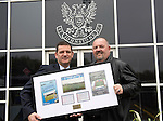 St Johnstone v Motherwell.....19.05.13      SPL.Chairman Steve Brown is presented with a framed Muirton Park momento by Saints Lotto Jackpot Winner Steve Morrison..Picture by Graeme Hart..Copyright Perthshire Picture Agency.Tel: 01738 623350  Mobile: 07990 594431