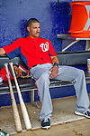 23 February 2013: Washington Nationals shortstop Ian Desmond sits in the dugout awaiting the start of play prior to a Spring Training Game against the New York Mets at Tradition Field in Port St. Lucie, Florida. The Mets defeated the Nationals 5-3 in their Grapefruit League Opening Day game. Mandatory Credit: Ed Wolfstein Photo *** RAW (NEF) Image File Available ***