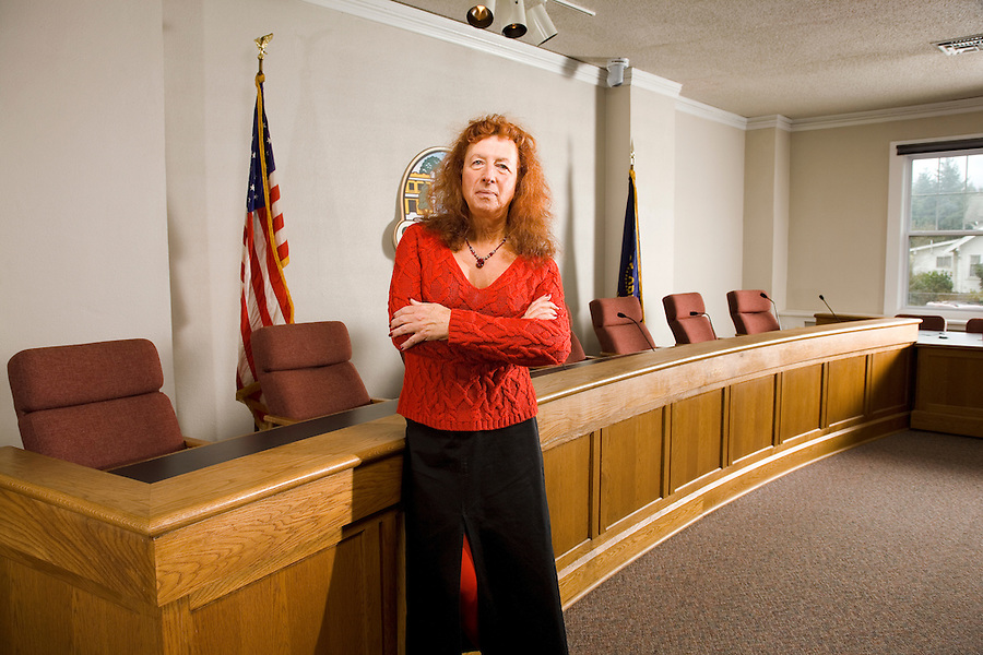 Stu Rasmussen, newly elected Mayor of Silverton Oregon is the first transgenderd mayor in the US, photographed in the City Council Chambers, Silverton Orergon