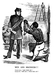 """Men and Brothers!! Fugitive slave. """"Take these off!"""" Captain, R N. """"How can I?—With this on?"""""""
