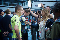 Rafal Majka (POL/Tinkoff) interviewed at the Grande Partenza in Apeldoorn (NLD): team presentation of the 99th Giro d'Italia 2016 on the evening before the 1st stage