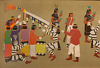 Detail of the Native American celebration, painting by Romando Vigil or Tse Ye Mu, Puebloan artist, in the Chapin Mesa Archeological Museum, in Mesa Verde National Park, Montezuma County, Colorado, USA. Romando Vigil is from San Ildefonso Pueblo, New Mexico, and was a contributor to the murals at the Santa Fe Indian School and also painted for Walt Disney studios. Mesa Verde is the largest archaeological site in America, with Native Americans inhabiting the area from 7500 BC to 13th century AD. It is listed as a UNESCO World Heritage Site. Picture by Manuel Cohen
