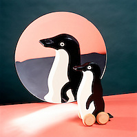 TOY REFLECTED IN CONCAVE (PARABOLIC) MIRROR (2 of 2)<br /> Virtual, erect &amp; enlarged image of toy penguin..An object placed between the focal point and the mirror forms a virtual, erect &amp; enlarged image.  A concave mirror can form both real and virtual images.