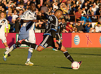 Victor Bernardez of Earthquakes kicks the ball during the game against Galaxy at Buck Shaw Stadium in Santa Clara, California on October 21st, 2012.  San Jose Earthquakes and Los Angeles Galaxy tied at 2-2.