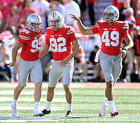 Ohio State Buckeyes punter Cameron Johnston (95), Ohio State Buckeyes place kicker Tyler Durbin (92) and Ohio State Buckeyes long snapper Liam McCullough (49) against Indiana Hoosiers during their game in Ohio Stadium in Columbus, Ohio on October 8, 2016.  (Kyle Robertson/ The Columbus Dispatch)