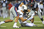 Vanderbilt tight end Kris Kentera (82) vs. Ole Miss defensive back Trae Elston (7) and Ole Miss defensive back Cody Prewitt (25) at Vaught-Hemingway Stadium in Oxford, Miss. on Saturday, November 10, 2012. (AP Photo/Oxford Eagle, Bruce Newman)