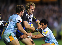 Nick Abendanon in possession. Aviva Premiership match, between Bath Rugby and Northampton Saints on September 14, 2012 at the Recreation Ground in Bath, England. Photo by: Patrick Khachfe / Onside Images