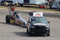Feb 26, 2017; Chandler, AZ, USA; NHRA top fuel driver Leah Pritchett during the Arizona Nationals at Wild Horse Pass Motorsports Park. Mandatory Credit: Mark J. Rebilas-USA TODAY Sports