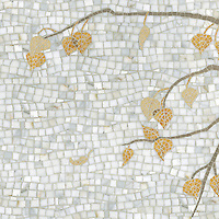Aspen, a natural stone hand cut mosaic, is shown in Calacatta Tia, Driftwood, Travertine Noce, Persian Gold and Sylvia Gold (p).