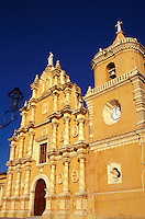 The baroque facade of the Iglesia de Recoleccion in Leon, Nicaragua