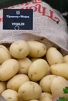 White potatoes Vivaldi in burlap bag from Thompson &amp; Morgan and label sign