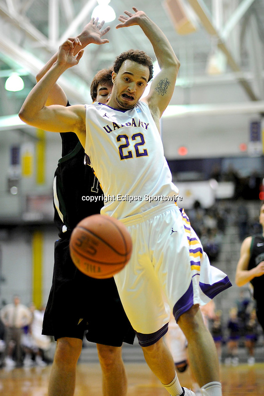 Game action from the Albany Great Danes' 74-68 victory over the winless Binghamton Bearcats on January 25, 2012 at SEFCU Arena in Albany, New York.  (Bob Mayberger/Eclipse Sportswire)