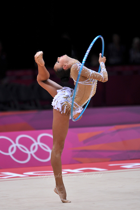 August 11, 2012; London, Great Britain;  DARIA DMITRIEVA of Russia performs balance in ring position with hoop during All-Around final at London 2012 Olympics.