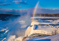 Niagara Falls in winter and rainbow, Niagara Falls State Park, New York, American Falls and Bridalveil Falls