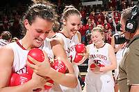 STANFORD, CA - NOVEMBER 20:  Jillian Harmon, Kayla Pedersen, and Lindy La Rocque of the Stanford Cardinal during Stanford's 84-46 win over the University of New Mexico on November 20, 2008 at Maples Pavilion in Stanford, California.